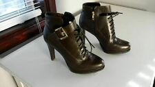 New Saks 5th Ave Women Dark Brown Leather Sasha Ankle Boots SZ US 8 EU 38(SA057)