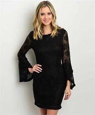 New S Black Lace Boho Dress Bell Sleeve Mini