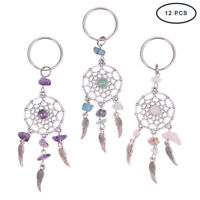 12 Pcs Natural Chip Gemstone Woven Net/Web with Feather Keychain Gift 4Pcs/Color