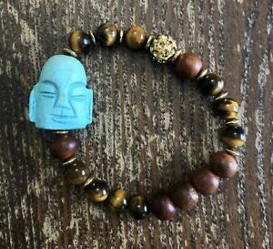 Turquoise Buddha Tigers Eye Wood Pave Crystal Ball Stretch Fashion Bracelet
