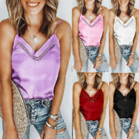 Womens Girl Sleeveless V Neck Solid Cami Tank Tops Casual Loose Shirts Blouse AU