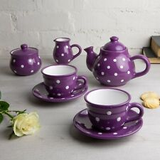 Handmade Purple and White Ceramic Teapot Set with 2 cups, Tea Set for Two