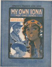My Own Iona, Charles King & Elizabeth Brice, 1913, vintage sheet music
