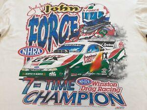 VTG 90s 1997 NHRA John Force Funny Car Drag Racing Double Sided T Shirt WHT XL ?