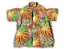 1940s Vintage Aloha Hawaiian Shirt Deer Creek Wild Bamboo Tropical Explosive