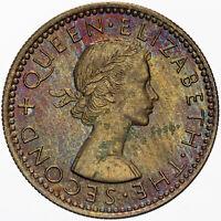 1963 NEW ZEALAND 6 PENCE MS BU QUEEN ELIZABETH  EXQUISITE COLOR TONED GEM COIN