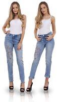 Ladies Relaxed Slim Blue Floral Print Cotton Womens Denim Jeans