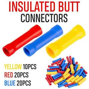 50X Insulated Straight Butt Connectors Electrical Crimp Terminals Wire Cable UK