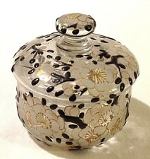 Antique powder bowl French signed Delveux Paris Enameled Enamel perfume related