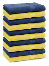 Lot de 10 serviettes débarbouillettes Premium couleur: jaune & bleu foncé