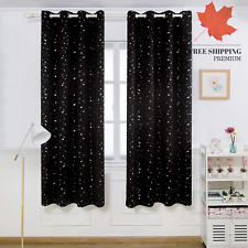 Kids Blackout Curtains Bedroom - Silver Star Printed Thermal Insulated Room D...