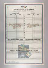 2009 World Baseball Classic Game Issued Phantom Lineup Card Puerto Rico Panama