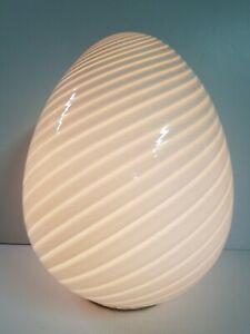 """Maestri Murano 17"""" White Swirl Glass Egg Lamp 1970's Vintage Mid Century Modern"""