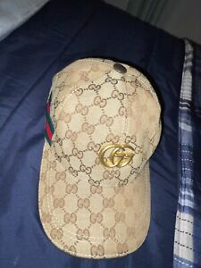 Gucci UNISEX Monogram GG Canvas Hat.. Black with adjustable strap