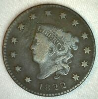 1822 Coronet Head US Large Cent Copper Coin Good Grade 1c US Penny Coin