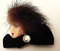 broche tête de femme bijou vintage style 1930 avec poil clair en relief * A01