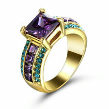 Rings Size 8 Square Purple Amethyst Womens 10kt Yellow Gold Filled Engagement