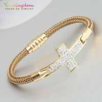 New Cross Design Clear Cubic Zircon Gold Plated Lady Girl Bracelet Hand Jewelry