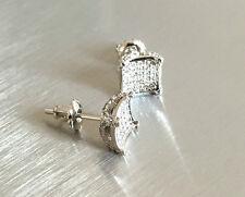 Mens & Ladies 18k Gold Simulated Lab Diamond Screw Back Stud Earrings 8mm