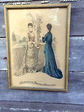 Antique 19th Century Demorest's Fashions Print Framed June 1877