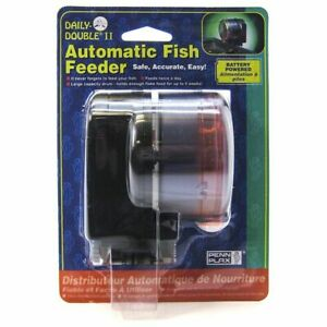 "LM Penn Plax Daily Double II Automatic Fish Feeder 3.5""L x 3.5""W x 4""H"