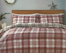 Jeff Banks Duvet Set Brushed 100% Cotton Red Grey Check Ports Of Call All Sizes