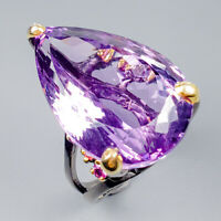 26x18 mm. IF Natural Amethyst 925 Sterling Silver Ring Size 7.5/R119488