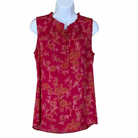 41 Hawthorn Stitch Fix Magenta Floral Ruffle Top sz S Sleeveless New NWT
