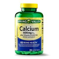 New Spring Valley Calcium plus Vitamin D Coated Tablets 600 Mg 250 Ct