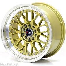"XXR 521 16"" x 8J ET20 4x114.3 4x100 GOLD POLISHED LIP ALLOYS RIMS WHEELS Z1411"