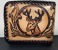 Vintage Hand Tooled Leather Wallet Deer Head For Hunters And Sportsman