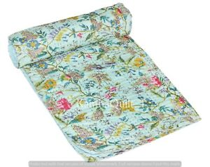 Indian Floral print Twin Kantha Handmade Quilt Cotton Bed Cover Throw