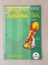 England v Albania April 26th 1989 - World Cup Qualifier - Vgc Programme