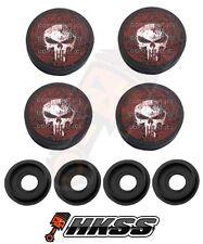 4 Black Custom License Plate Frame Tag Screw Cap Covers - PUNISHER SKULL BUS