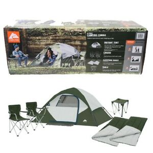 Ozark 6 Piece Camping Combo 4-Person Instant Tent Chairs Sleeping Bags Table