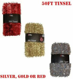 50FT CHRISTMAS TINSEL GARLAND Luxury Thick Xmas Tree Home Party Decoration Large