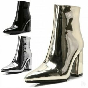 Women's Shiny Patent Leather Party Shoes Block Heels Zip Pointed Toe Ankle Boots