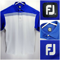FootJoy FJ Mens XL Golf Shirt Polo White Blue Polyester