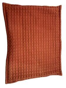Crate & Barrel Quilted Pillow Cover Sham Orange 23 x 18 Hidden Zipper  Fading