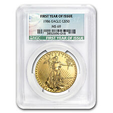1986 1 oz Gold American Eagle MS-69 NGC (First Year of Issue) - SKU #81013