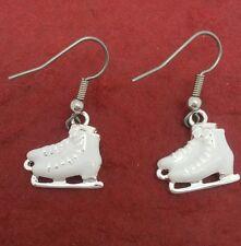 Ice Skate Earrings dangle New Great Gift skating skater skates boots white