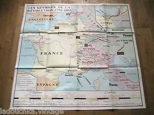 FRENCH 1960s VINTAGE CLASSROOM SCHOOL MAP~ 1782/1802 REVOLUTION WAR ~NEW~35 x 35