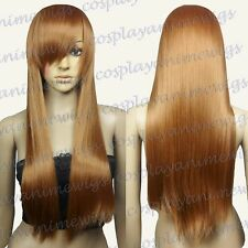 70cm Light Brown Heat Styleable Long Cosplay Wigs 76_LLB