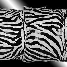 "2X FASHION WHITE VELVET BLACK ZEBRA PRINT THROW PILLOW CASES CUSHION COVERS 17"""