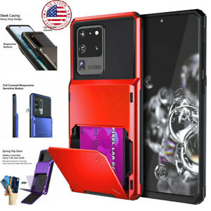 For Samsung Galaxy S20 Ultra Wallet ID Slot Credit Cards Holder Drop Bumper Case