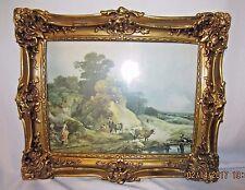 VINTAGE Ornate Antique Gilt Plaster Framed Picture with Pastoral Scene