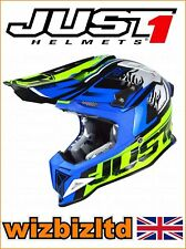 JUST1 MX Helmet J12 Carbon - DOMINATOR Neon Yellow-Blue - Large JUS109L