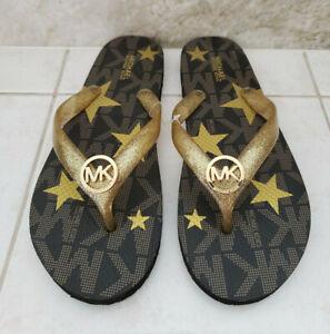 New Genuine Michael Kors Gold Star and Glitter Signature Logo Beach Sandals