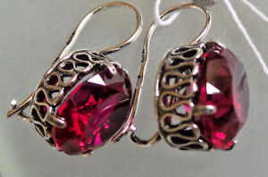 Russian  SILVER EARRINGS red RUBY CREATED  HALLMARKED 925 oval