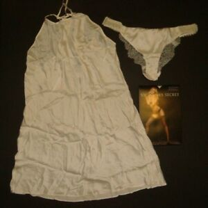 NWT Victoria's Secret M SLIP+M panty beaded IVORY coconut white 100% SILK BRIDAL